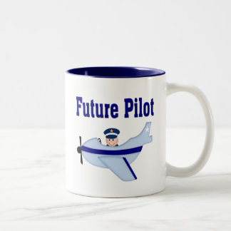 Blue Airplane Future Pilot Coffee Mugs