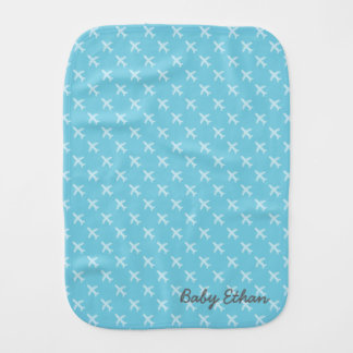 Blue Airplane Pattern For Baby Boys Burp Cloth