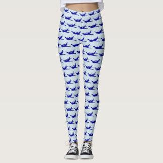 Blue airplane pattern leggings