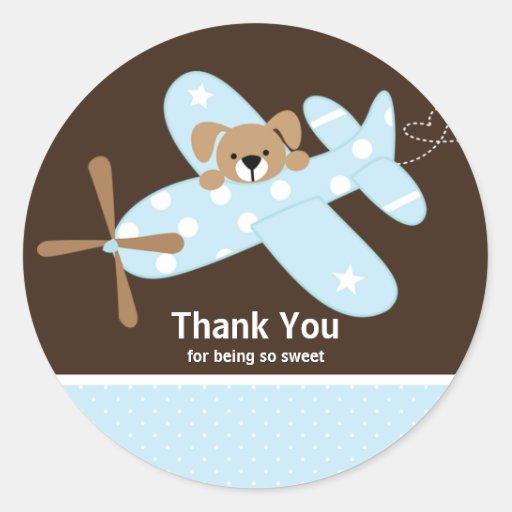 Blue Airplane Thank You Baby Shower Sticker