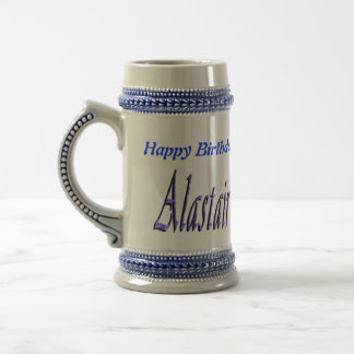 Blue Alastair Name Logo, Beer Stein