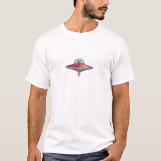 Blue Alien Flying Pink and Gray Flying Saucer T-Shirt