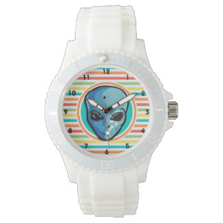 Blue Alien on Bright Rainbow Stripes Watch