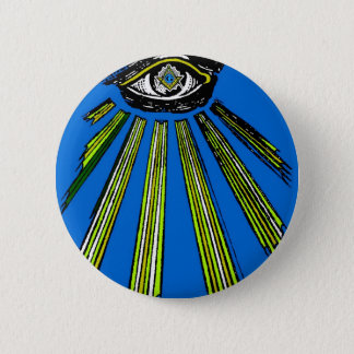 Blue All Seeing Eye Square and Compass Mason 6 Cm Round Badge