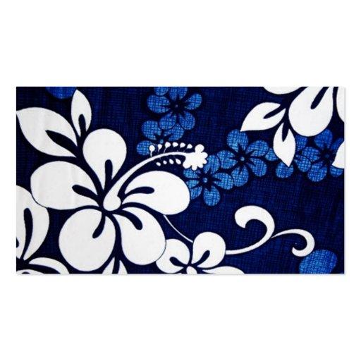 Blue Aloha Hawaii Flowers Business Card Template