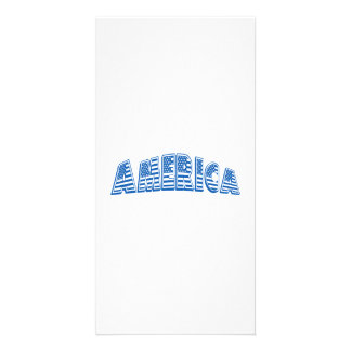 Blue America Personalized Photo Card