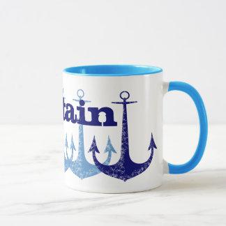 Blue anchor Captain Nautical personalised Mug