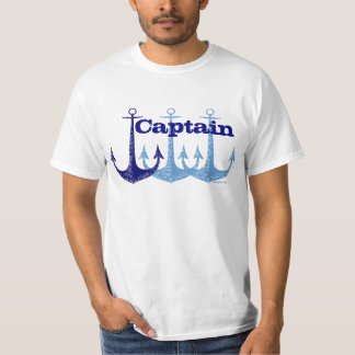 Blue anchor Captain nautical personalised T-Shirt