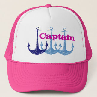 Blue anchor, girly, captain, personalized trucker hat