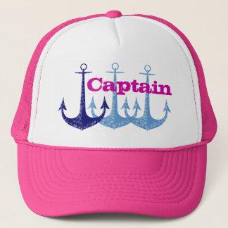 Blue anchor girly captain trucker hat