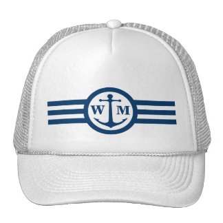 Blue Anchor Monogram Logo Hat