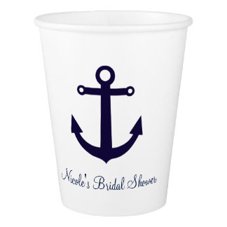 Blue Anchor Nautical Any Color Party Cups