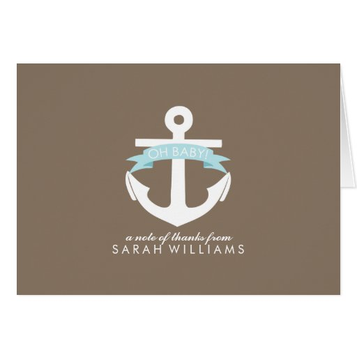 Blue Anchor Nautical Baby Shower Card