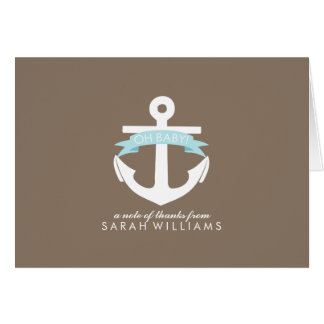 Blue Anchor Nautical Baby Shower Note Card