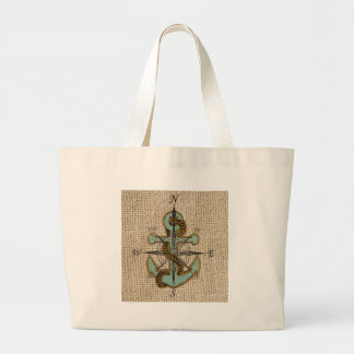 Blue anchor on burlap background bags