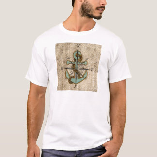 Blue anchor on burlap background T-Shirt