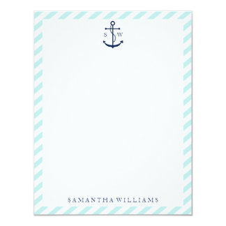Blue Anchor on Mint Stripes Monogram Card