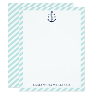 Blue Anchor on Mint Stripes Thank You Notes Card
