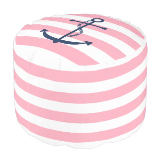 Blue Anchor on Pink and White Nautical Stripes Pouf