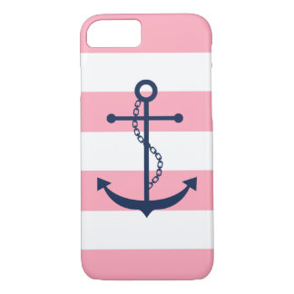 Blue Anchor on Pink Stripes iPhone 8/7 Case