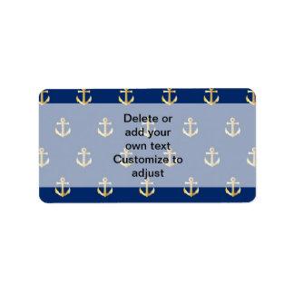 Blue anchor pattern address label