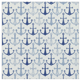 Blue Anchor Pattern Fabric