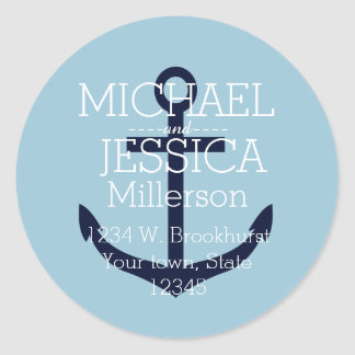 Blue Anchor Personalized address Classic Round Sticker