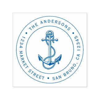 Blue Anchor & Rope | Nautical Return Address Self-inking Stamp