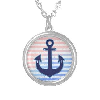 blue anchor & stripes round pendant necklace