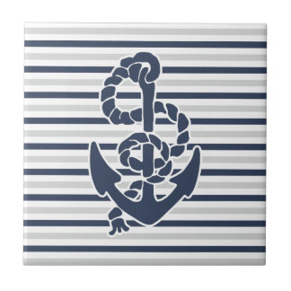 Blue Anchor White Grey Stripes Small Square Tile