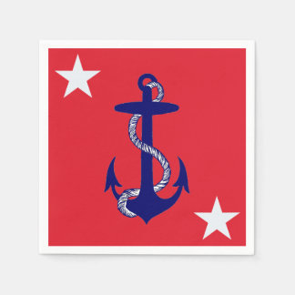 Blue Anchor & White Star on Red Nautical USA Disposable Serviette