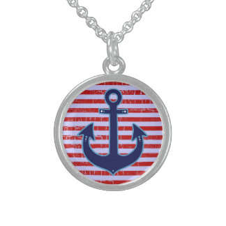 blue anchor with stripes round pendant necklace