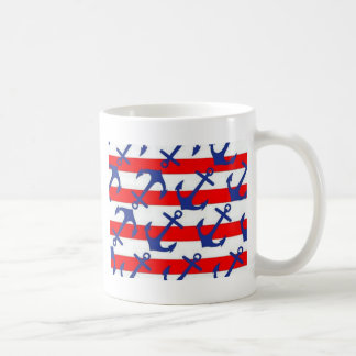 Blue Anchors On Red Stripes Coffee Mug