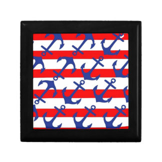 Blue Anchors On Red Stripes Gift Box