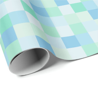 Blue and Aqua Blue Squares Wrapping Paper