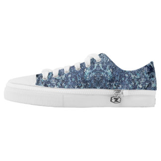 Blue and aquamarine texture pattern printed shoes