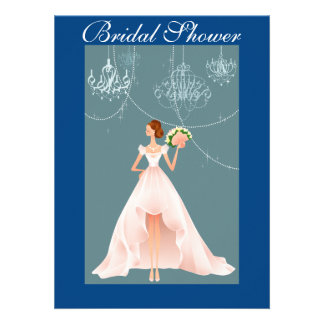 Blue and Beautiful Bridal Shower Invitation