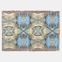 Blue And Beige Bands Throw Blanket