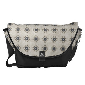 Blue and Beige Circle Diamond Pattern Commuter Bag