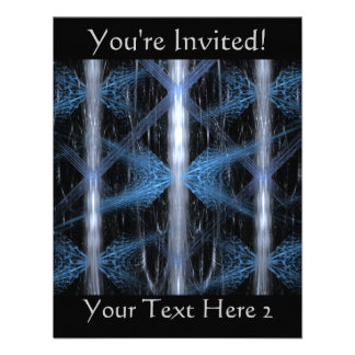 Blue and Black Abstract Design Fractal Art Personalized Invite