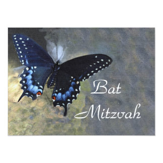 "Blue and Black Butterfly Bat Mitzvah Invitation 5.5"" X 7.5"" Invitation Card"