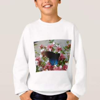 Blue and Black Butterfly on pink flowers Sweatshirt