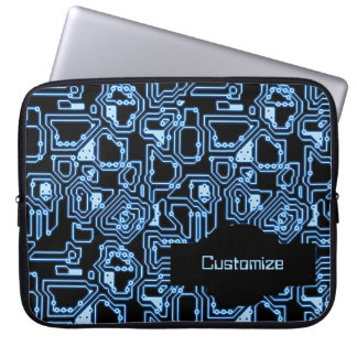 Blue and Black Computer Circuits Laptop Sleeve