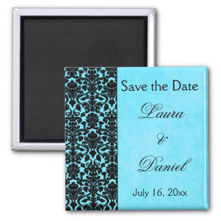 Blue and Black Damask Save the Date Magnet