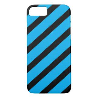 Blue and Black Diagonal Stripes iPhone 7 Case