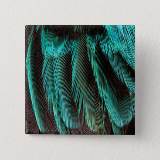 Blue And Black Feather Design 15 Cm Square Badge