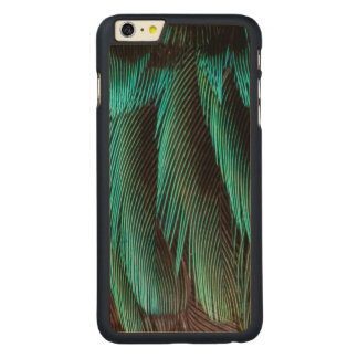 Blue And Black Feather Design Carved Maple iPhone 6 Plus Case
