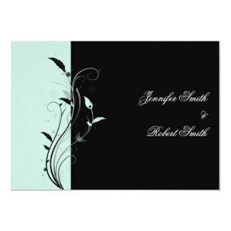 "Blue and Black Floral Filigree Wedding 5"" X 7"" Invitation Card"