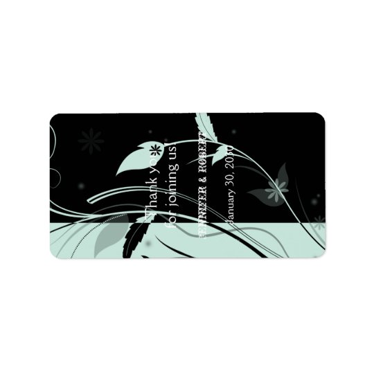 Blue and Black Floral Wedding Lip Balm Label Address Label