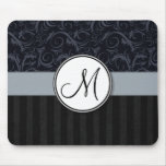Blue and Black Floral Wisps, Stripes with Monogram Mousepad